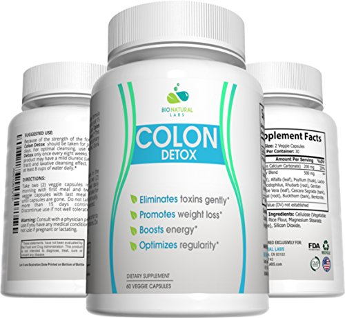 Large 15 Supply Day (Colon Detox 15-Day Cleanse, 100% All Natural Digestive Health Support, Psyllium Husk Appetite Suppressant and Weight Loss Pills (60 Capsules, 15 Day Supply))