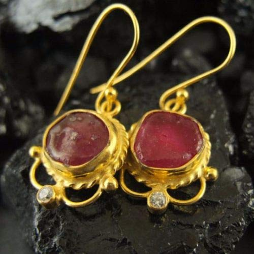 Ancient Design Jewelry Handmade Designer Jewelry Rough Ruby Earring 22K Gold over 925K Sterling Silver ()
