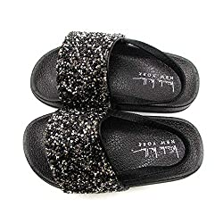 Toddler and Little Girls Jeweled Slide Sandals