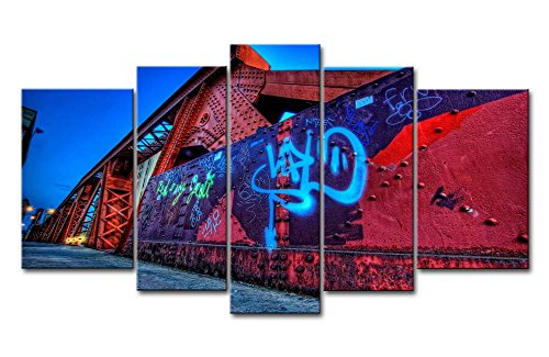 - 5 Panel Wall Art Painting City Graffiti Street Wall Prints On Canvas The Picture City Pictures Oil For Home Modern Decoration Print Decor