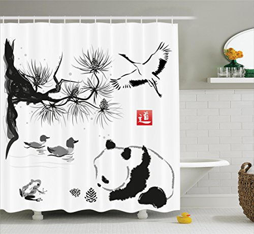 - Ambesonne Asian Decor Collection, Bird Cedar Panda Bear Traditional Japanese Painting Style Art Hieroglyph Image, Polyester Fabric Bathroom Shower Curtain, 84 Inches Extra Long, White Grey