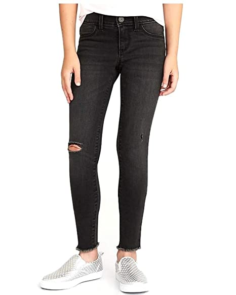 54807203c3c7c Old Navy Distressed Raw-Edge Color Black Rockstar Jeggings for Girls! (8)
