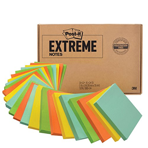 Big Note (Post-it Extreme Notes, Water Resistant, Engineered for Tough Conditions, Made with Dura-Hold Paper and Adhesive 24 Pads, Green, Yellow, Mint, Orange)