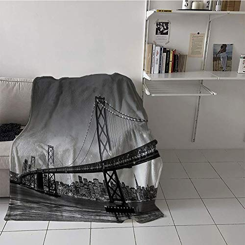 Children's blanket multi-function Digital Printing Blanket (30 By 50 Inch,Apartment Decor Collection,Sun Setting View of San Francisco Bay Bridge California USA Tourist Attraction Image,Gray)