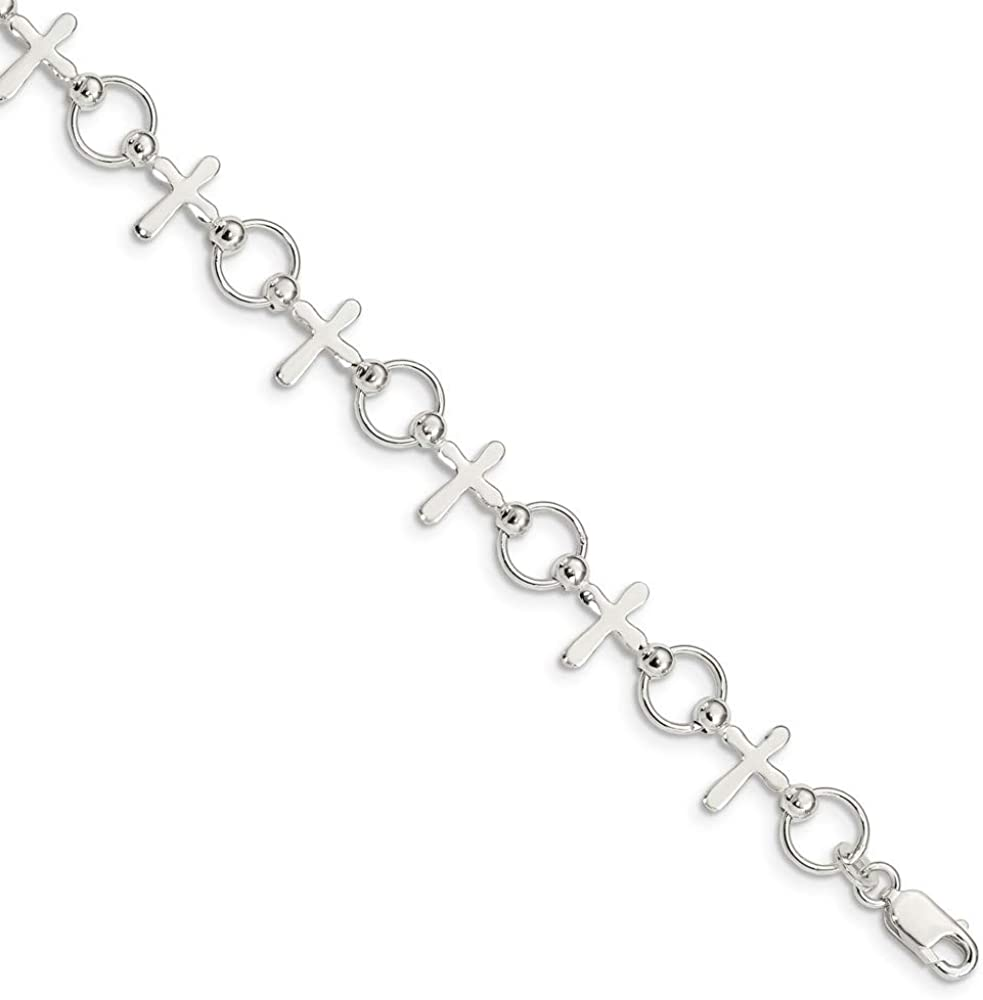 Solid 925 Sterling Silver Ranking integrated 1st place Sales results No. 1 Cross Bracelet with Secure - Lobster L