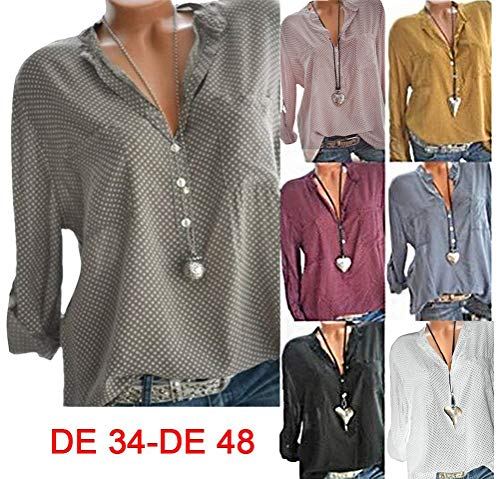 Shirts Hauts Femmes Rose Chemisier Manches Chemise Pois Button T Et Imprimer Blouse Loose Longues x6qvpYnR