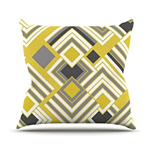 "Kess InHouse Jacqueline Milton ""Luca-Gold"" Yellow Gray Outdoor Throw Pillow, 20 by 20-Inch"