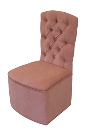 Bedroom/Boudoir Chair In Luxurious Pink Chenille Fabric With Matching  Buttons