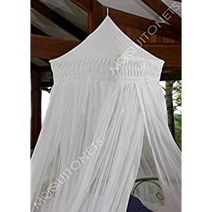 MOSQUITO NET BED CANOPY | KING/QUEEN Size Bed Net | Easy Care machine washable cotton mosquito netting | Secure insect protection with the best quality designer mosquito net