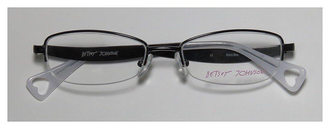 15455a084d Amazon.com  Betsey Johnson Boho Boa Mens Womens Designer Half-rim Hot  Fashion Accessory Eyeglasses Eyeglass Frame (50-17-137