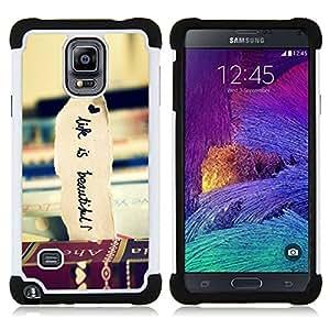 """Pulsar ( Libros de Viaje Hermosa Vignette Vida"""" ) Samsung Galaxy Note 4 IV / SM-N910 SM-N910 híbrida Heavy Duty Impact pesado deber de protección a los choques caso Carcasa de parachoques"""