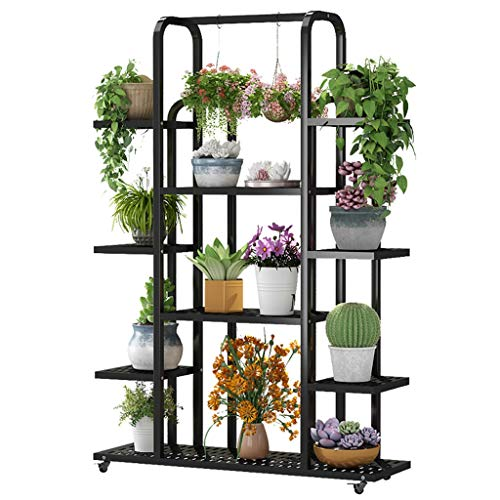 KHJBGXHJ Metal Potted Flower Pot Rack Bracket Multi-Layer Indoor Balcony Flower Pot Storage Shelf Decorative Plant Cabinet, Thick Galvanized Stainless Steel Tube