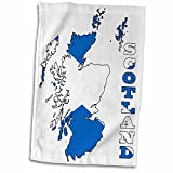3dRose 777images Flags and Maps - Europe - Flag of Scotland in outline map of Scotland and country name - 12x18 Hand Towel (twl_165744_1)
