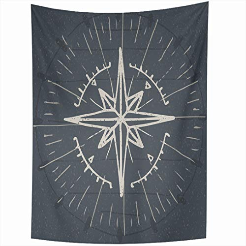 (Ahawoso Tapestry 50x60 Inch Discovery Compass Vintage Nautical Abstract Drawn Instrument Hand Map Rose Travel World Wind Wall Hanging Home Decor for Living Room Bedroom Dorm)