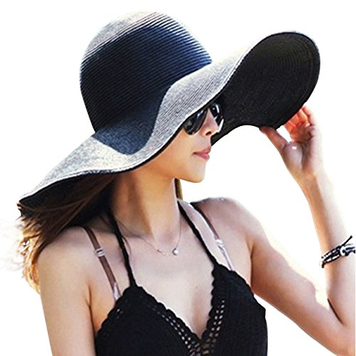 Womens Big Bowknot Straw Hat Floppy Foldable Roll up Beach Cap Sun Hat UPF 50+ (Groovy Stuff)
