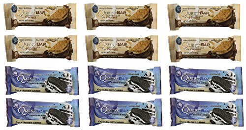 Quest Nutrition Protein Bar Variety Pack, Including Cookies & Cream & S'mores, Pack of 12, 6 of Each