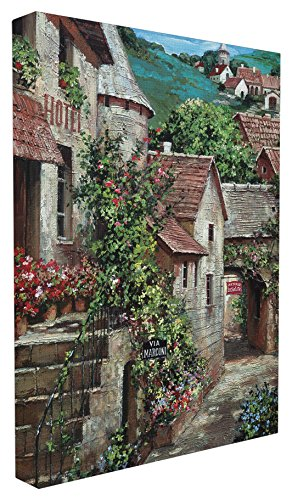 The Stupell Home Decor Collection Italian Country Village with Stairs Stretched Canvas Wall Art