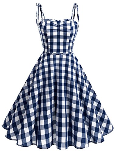 Wedtrend Women's Vintage Polka Audrey Dress 1950s Plaids Cocktail Checkered Dress with Pockets ()