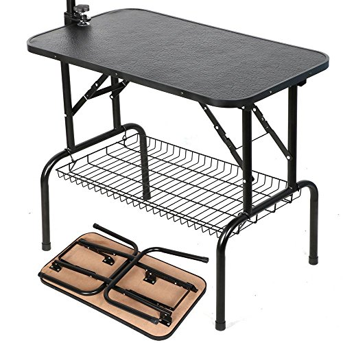 Yaheetech Pet Dog Grooming Table Adjustable Height - 32'' Drying Table w/Arm/Noose/Mesh Tray for Small Dogs Cats Portable Non-Slip Maximum Capacity Up to 220lbs Black by Yaheetech (Image #6)'