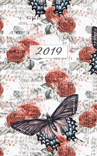 2019 Weekly & Monthly Vintage Butterfly: 12 Month Black & Red Planner Diary with Vertical Day Appointment Agenda and Small Calendar Organizer