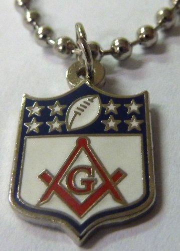 Masonic NFL Football Shield Logo Square & Compass Pendant Necklace w/ ball Chain