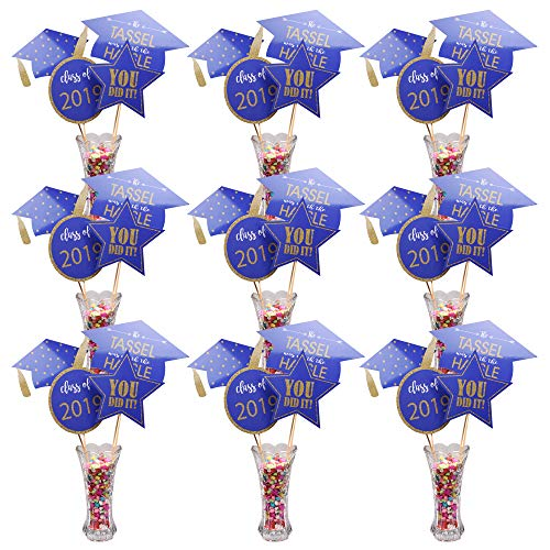 Graduation Centerpiece Sticks 2019 Graduation Decorations Great to Decorate Graduation Table A Big Hit on 2019 Graduation Party Blue & Gold - 36 Packs]()