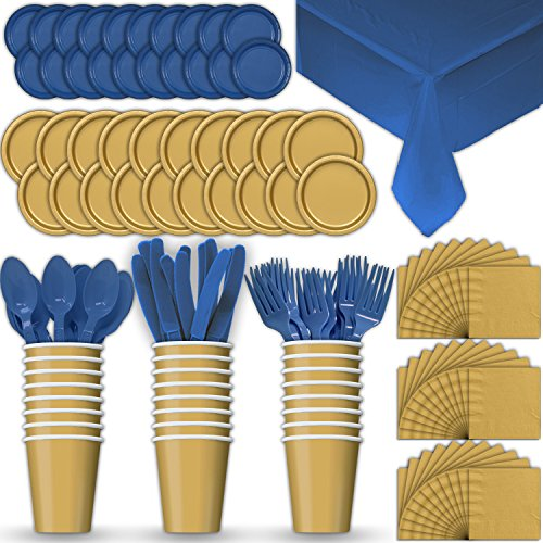 Paper Tableware Set for 24 - Gold & Blue - Dinner and Dessert Plates, Cups, Napkins, Cutlery (Spoons, Forks, Knives), and Tablecloths - Full Two-Tone Party Supplies Pack