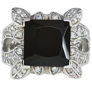 Circonitas cúbicas blanco y negro perfecto para vestir para cóctel Anillo de plata de ley Tamaño R