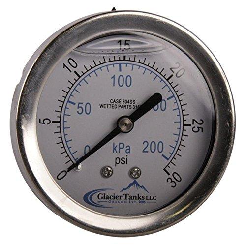 Pressure Gauge | MNPT 1/4 inch 0-30 PSI Rear Mount - Stainless Steel SS304 - Glacier Tanks - (2 Pack)