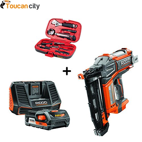 RIDGID HYPERDRIVE 18-Volt Brushless 16-Gauge 2-1/2 in. Straight Nailer with Hyper Lithium-Ion 2.0Ah Starter Kit R09892-AC848695 and Toucan City Tool kit (9 – piece) (Power Tool Cordless Set Ridgid)
