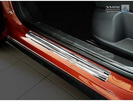 AUTOSTYLE 2/22097 INOX - Protectores de umbral de Puerta para Volkswagen T-ROC 2017-'Sportline' (4 Unidades), Color Plateado