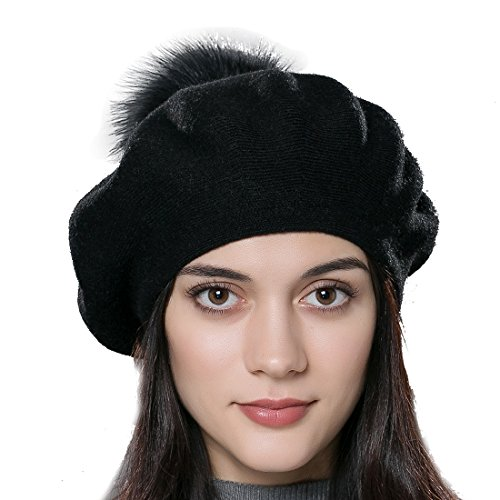 (URSFUR Unisex Winter Hat Womens Knit Wool Beret Cap with Fur Ball Pom Pom Black)