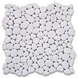 Thassos White Greek Marble River Rocks Pebble Stone Mosaic Tile Tumbled