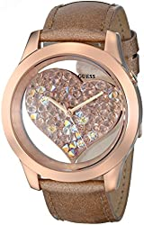 GUESS Women's U0113L3 Rose Gold-Tone Clearly Inspired Crystal Heart Watch