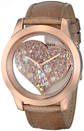 GUESS Womens U0113L3 Rose Gold-Tone Clearly Inspired Crystal Heart Watch
