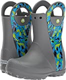 Crocs Kids' Handle It Graphic Rain Pull-on Boot, Slate Grey, 10 M US Toddler