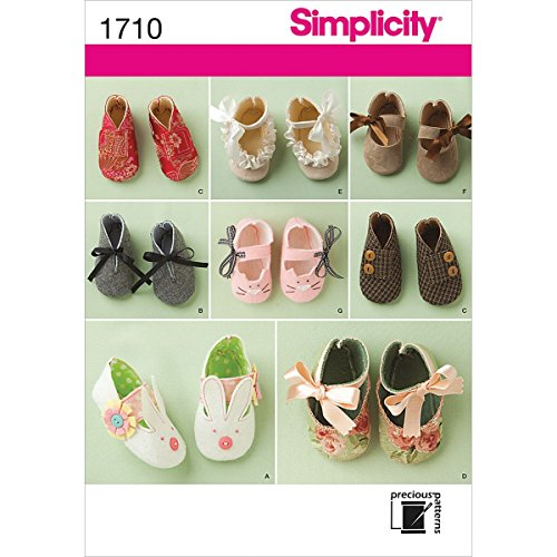 Simplicity Precious Pattern 1710 Baby Shoes 8 Styles Size S-M-L