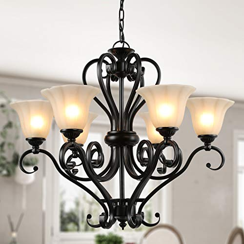 LNC Large 6-Light Chandelier Matte Black Finish with Amber Glass Shade, A02335