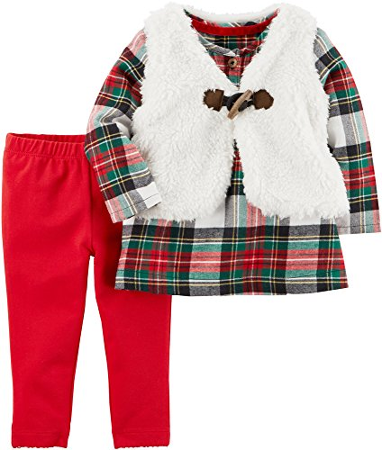 Carter's Baby Girls' 3 Piece Little Vest Set 6 Months,Red