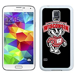 NEW Personalized Customized Galaxy S5 Case with Ncaa Big Ten Conference Football Wisconsin Badgers 2 Logo Cell Phone Hardshell Cover Case for Galaxy S5 S 5 SV S V i9600 White