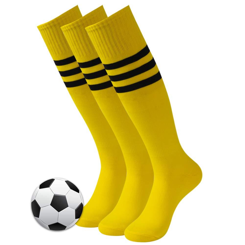 Soccer Socks, 3street Unisex Knee High/Over Calf Sport Athletic Long Tube Baseball Running Socks Back to School Socks Gift Bright Yellow 3 Pairs by Three street