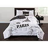 5pc Girls Black White Paris Comforter Full Set, Text Alphabet Bold Graphic Line Eiffel Tower Paris Themed Design, Ornamental Paris Printed Pillow Luxurious Teen Bedding Microfiber Polyester