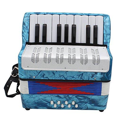 ETbotu 17 Key Professional Mini Accordion Educational Musical Instrument for Both Kids Adult Light Blue