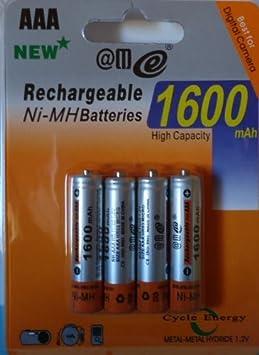396| 4 PILAS RECARGABLES AAA 1600 mAh Ni-MH DE ALTA CAPACIDAD TODO USO: Amazon.es: Electrónica