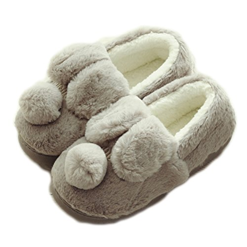 Auspicious beginning Women's Cute Comfortable Sole Footwear Warm Plush Indoor Slipper House Booties Grey Ky0zrak8k3