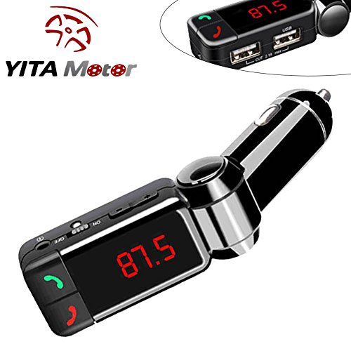 YITAMOTOR Wireless Bluetooth Car Charger BC06 High Performance Digital Wireless FM Transmitter, in-car Bluetooth Receiver Car Mp3 Player with Handsfree Calling and Dual USB Charging Port