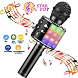 BlueFire Wireless 4 in 1 Bluetooth Karaoke Microphone with LED Lights, Portable Microphone for Kids, Best Gifts Toys for 4 6 8 10 12 Year Old Girls Boys (Black)