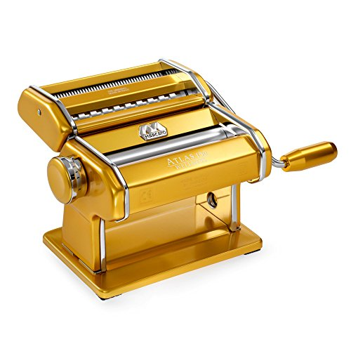 Marcato Atlas 150 Pasta Machine, Made in Italy, Gold, Includes Cutter, Hand Crank, and Instructions