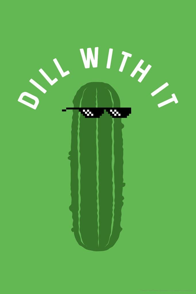 Dill with It Pickle Funny Cool Wall Decor Art Print Poster 12x18