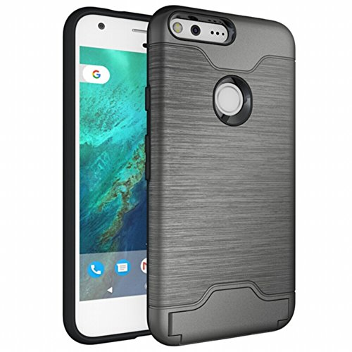 Price comparison product image MOONMINI [Card Slot][Anti Scratch]Soft TPU + Hard PC Dual Layer Rugged Hybrid Slim Fit Shockproof Full Body Protective Case Cover with Kickstandfor Google Pixel 5.0 inch Case Dark Grey